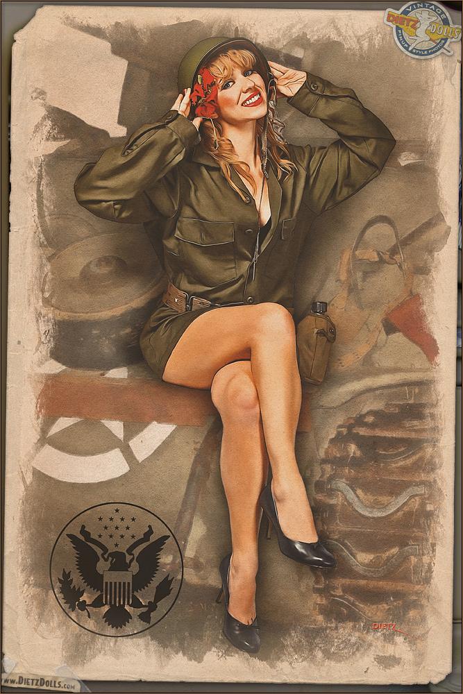 Pinups - Army Girl by warbirdphotographer