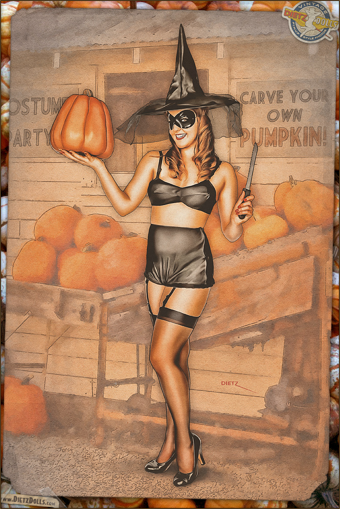 Pinups - Pumpkin Carving by warbirdphotographer