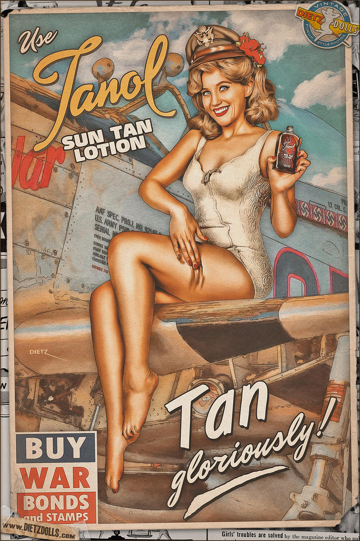 Pinups - Tanol Sun Tan Lotion by warbirdphotographer