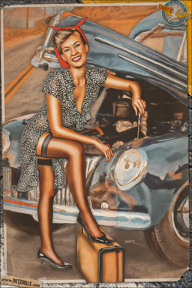 Pinups - Car Trouble by warbirdphotographer