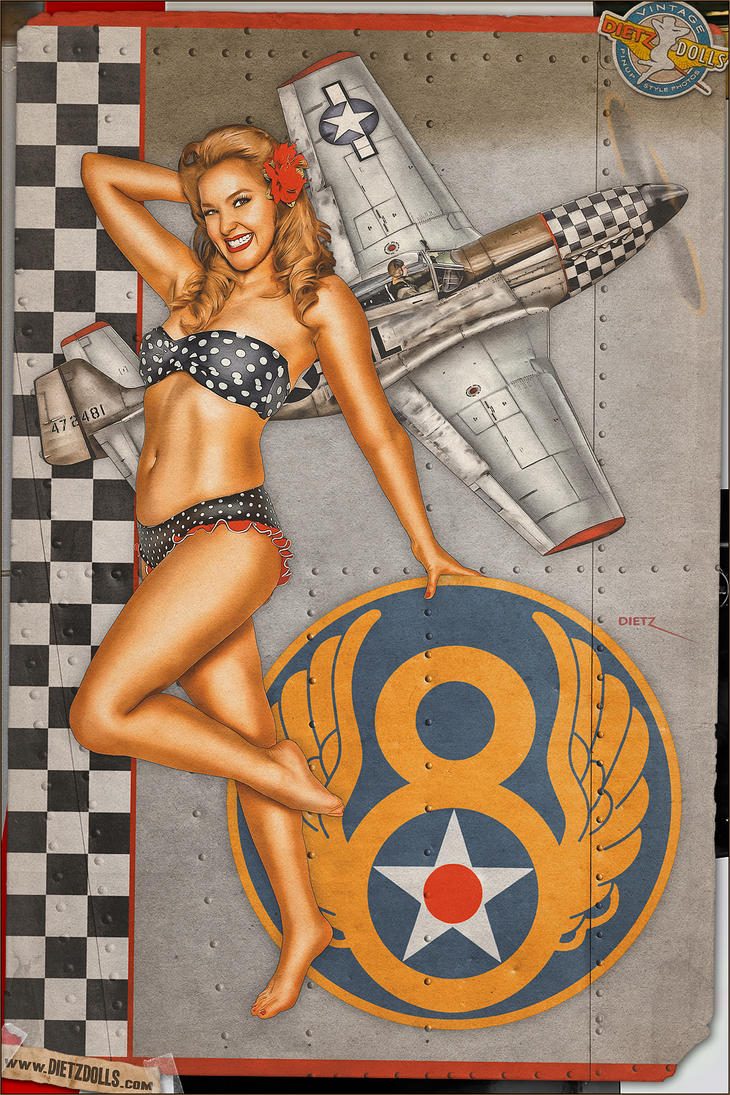 Pinups - Checkered Nose Beauty by warbirdphotographer