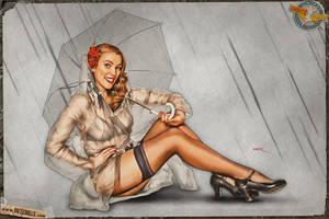 Pinups - Rainy Day (Gil Elvgren Tribute) by warbirdphotographer