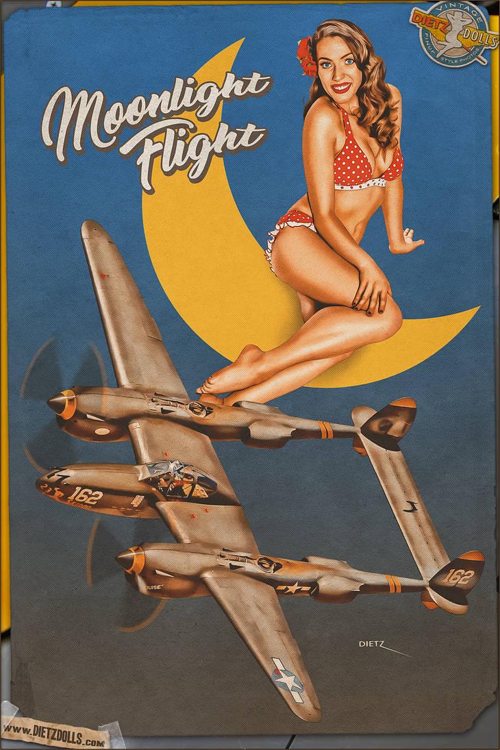 Pinups - Moonlight Flight by warbirdphotographer