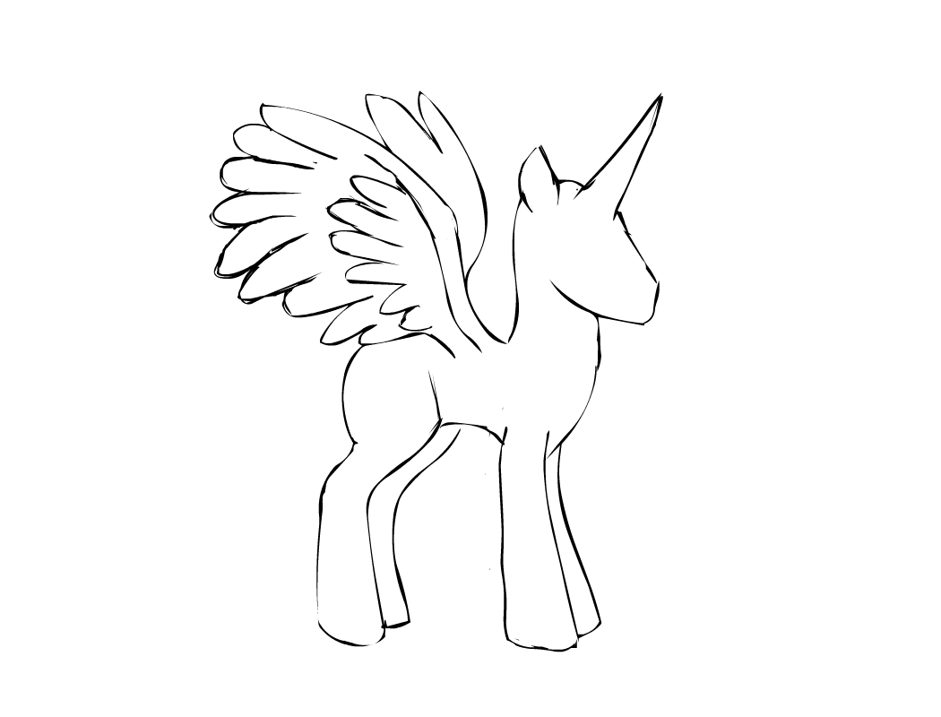 My Little Pony Alicorn Coloring Pages : Mlp alicorn outline imgkid the image kid has it