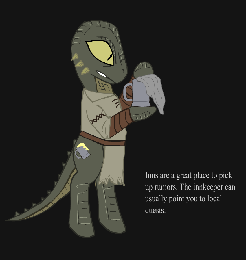 Ponified Skyrim loading screen: Tavern Argonian by glue123