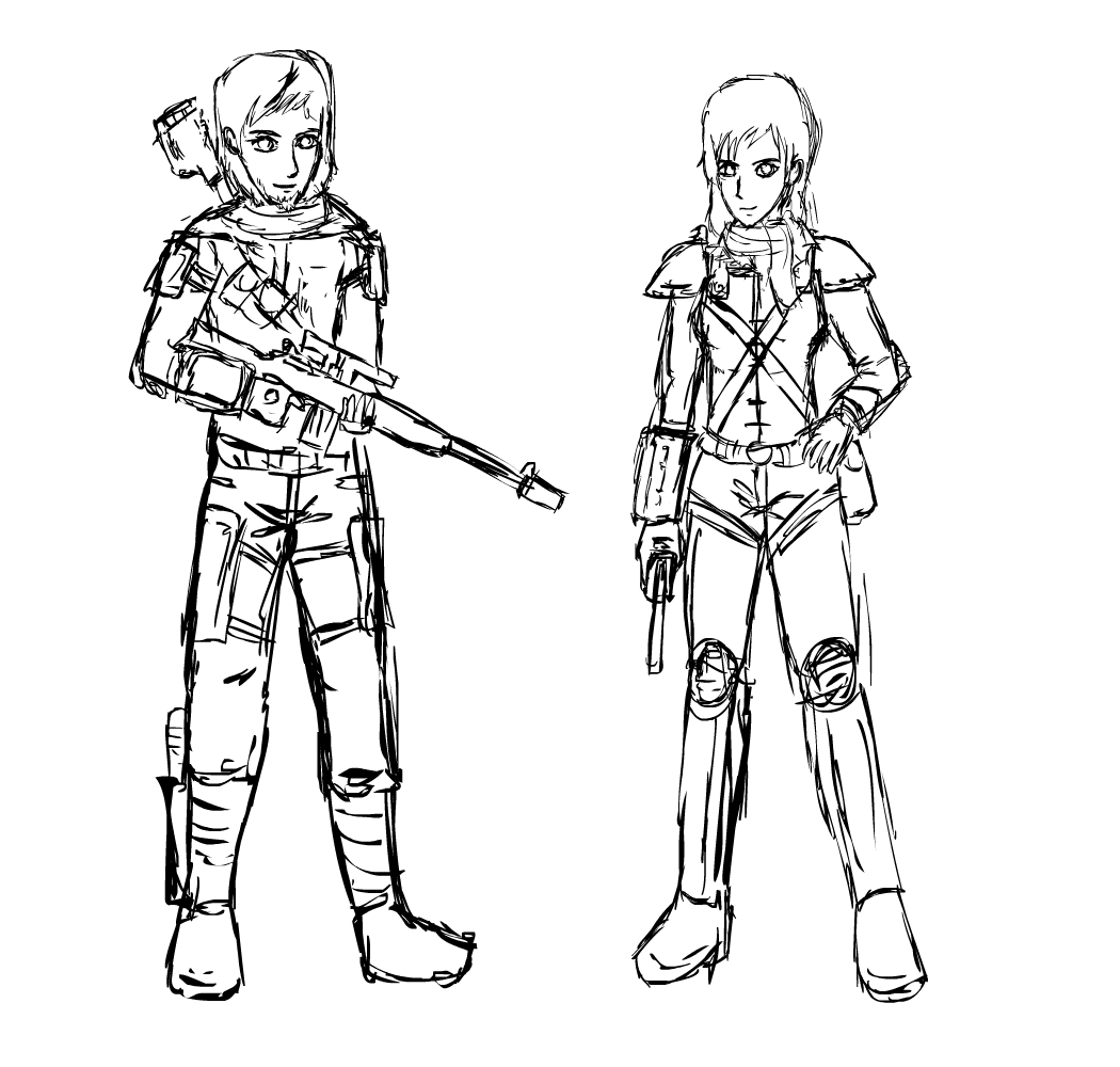 Fallout Equestria 2: Next Gen humanized sketch by glue123