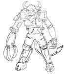 Brutus the cyborg minotaur lineart by glue123
