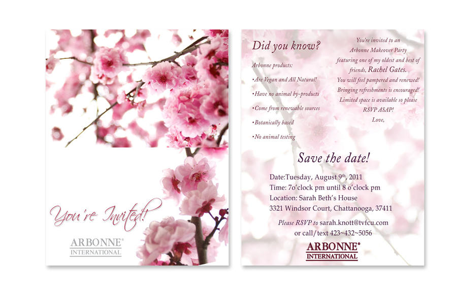 Arbonne Makeover Invitation by bassgeisha on DeviantArt – Makeover Party Invitations