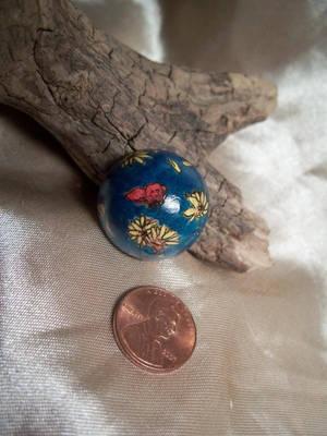 Back of Sunflower Pendant Wooden Bead by bassgeisha