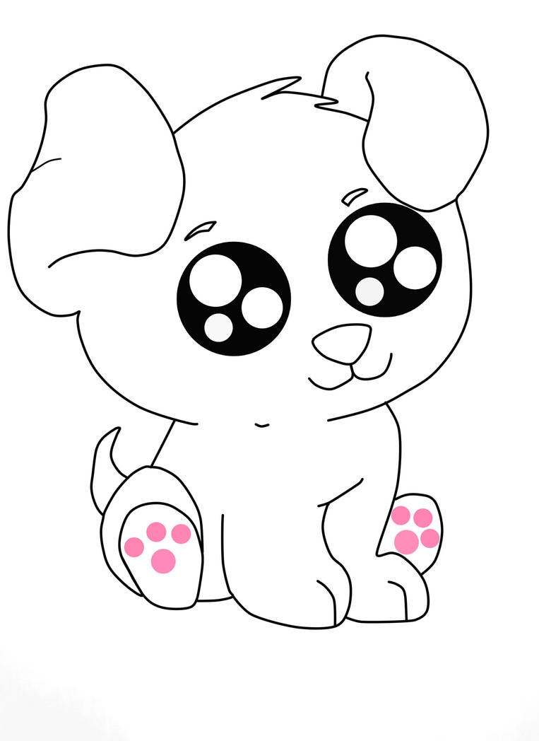Cute Anime Puppys Colouring Pages