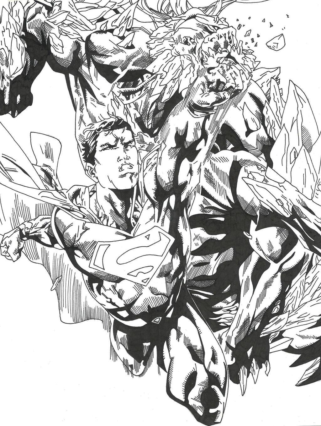 superman doomsday!! a tinta :v by hersly860