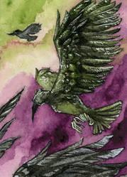 Rabe III Kakao Karte / Raven III ACEO Card by gabrieldevue