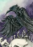 Rabe V Kakao Karte / Raven V ACEO Card by gabrieldevue