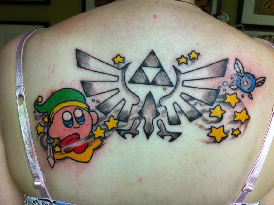 Kirby Triforce tattoo by ras-blackfire