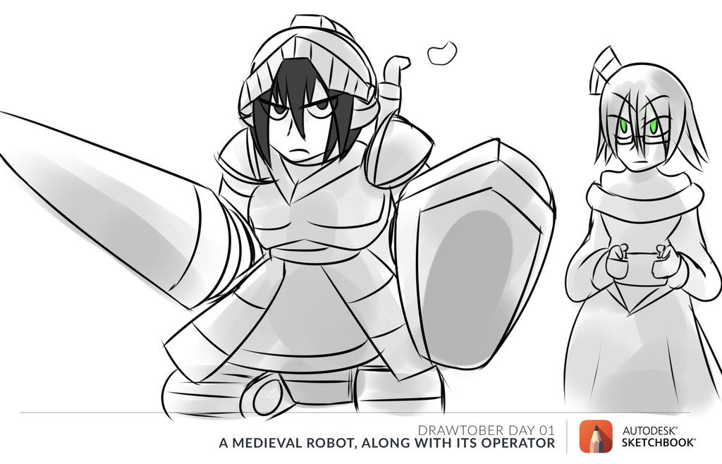 Drawtober: Draw a medieval robot with operator by MegaGundamMan
