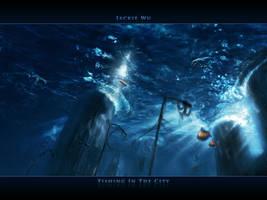Fishing in the City Wallpaper by geckokid