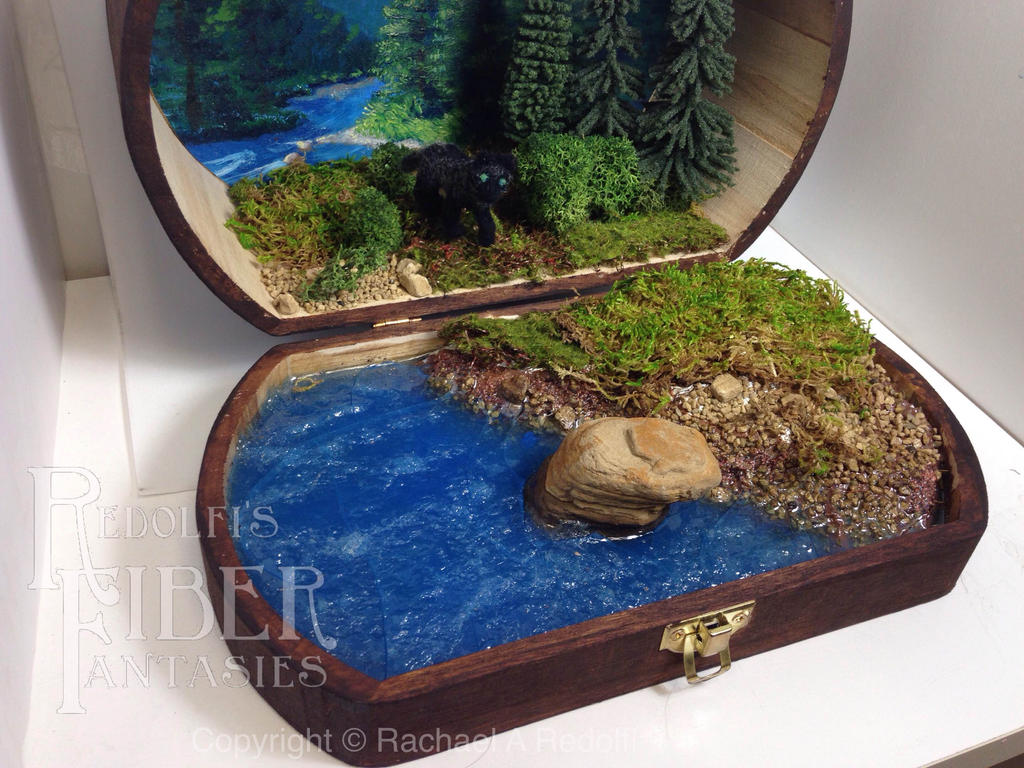 Lone Black Wolf, Needle Felt Diorama by RRedolfi