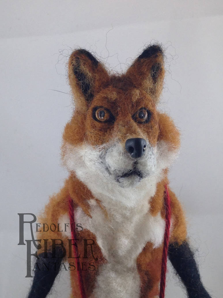 Needle Felt Fox Doll, closeup