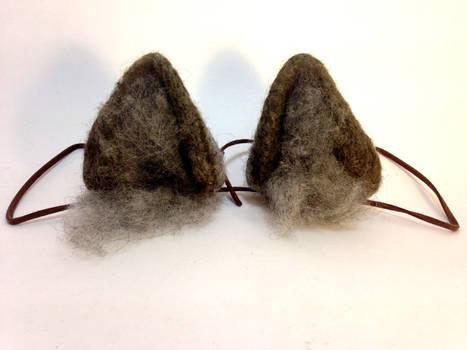 Needle Felt Gray Wolf Ears