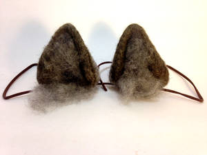Needle Felt Gray Wolf Ears