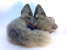 Needle Felt Gray Wolf Ears and Cat Tail