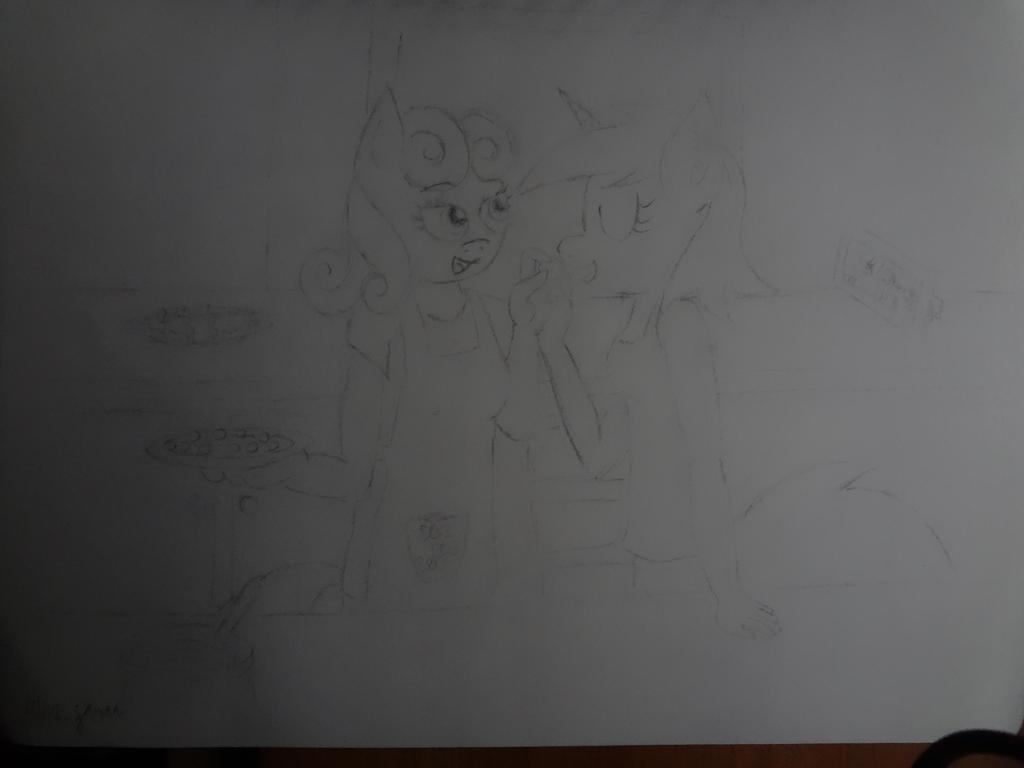 Lyra and Bon Bon in the Kitchen (Anthro) by NightPrincessLuna