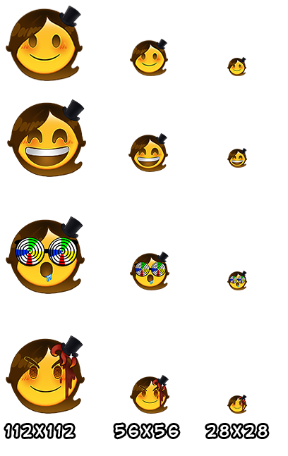 Twitch Emojis Examples Plus Sizes Chart by Pin-eye