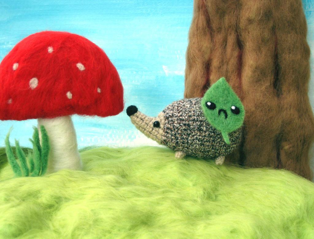 Fallen Cute - A Hedgehog Named Spike + Grumpy Leaf by Poopycakes-makes