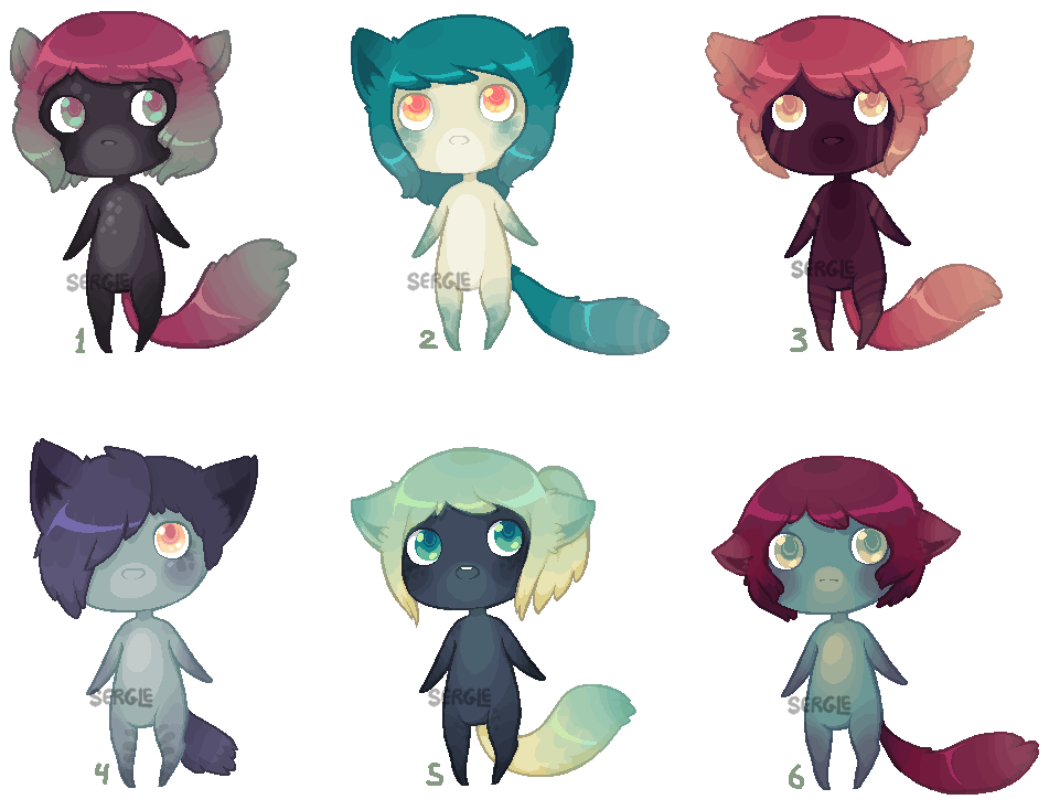 [SOLD] -- Pixel Anthro Adopts 8 by Sergle
