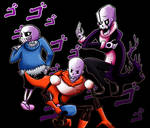 Skeletons posing menacingly at you