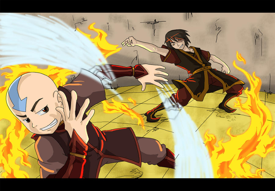Aang And Zuko Firebend With Dragons - Avatar: The Last ...