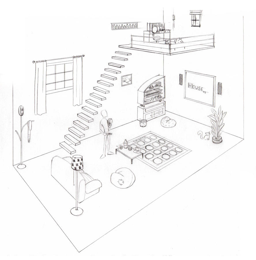 how to draw a 3d dining room perspective
