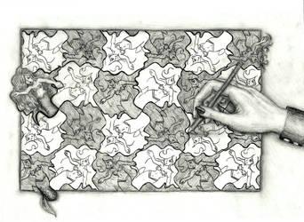 Mermaid tessellation by thedarkartistgirl