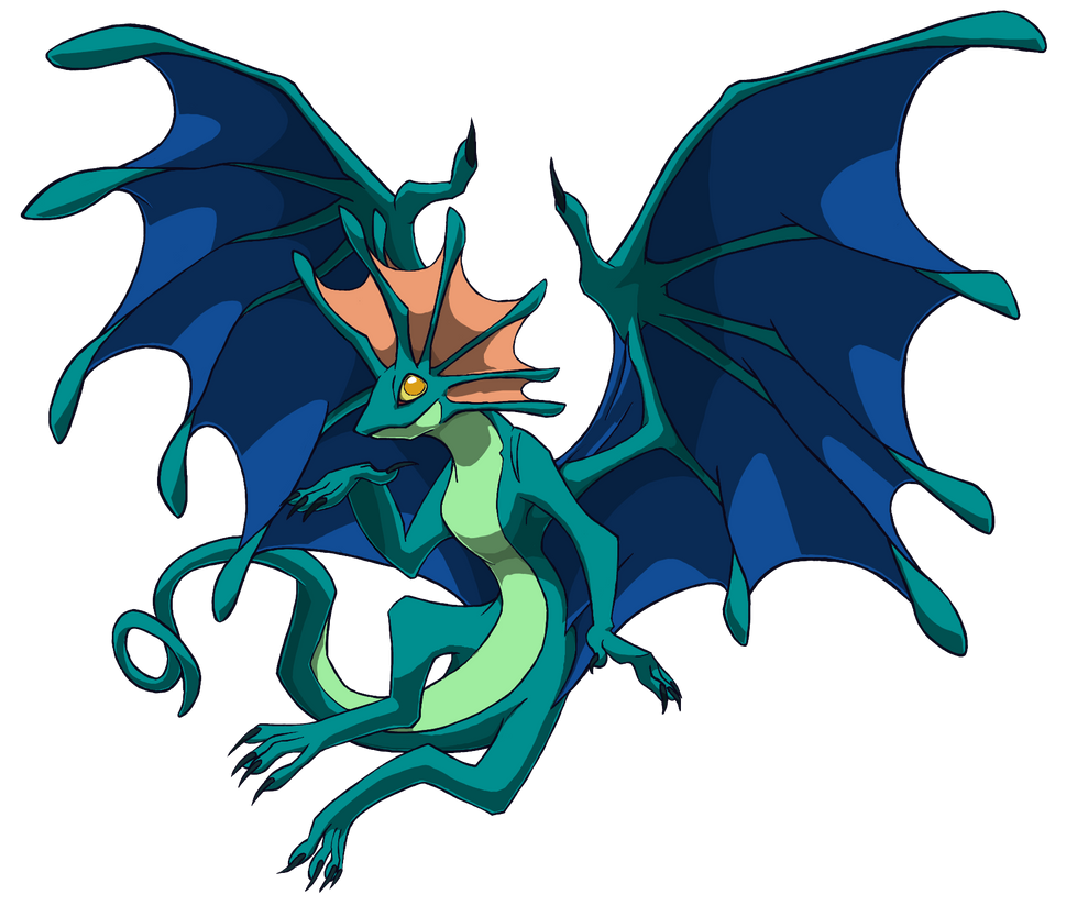 turquoise fae dragon by green