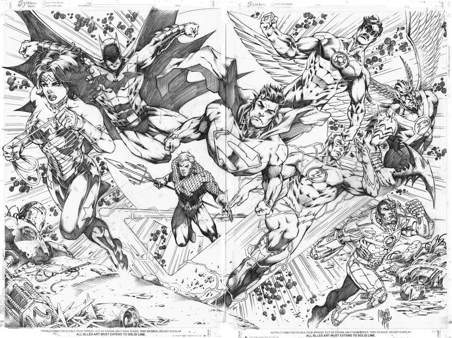 Justice League_double page by MARCIOABREU7