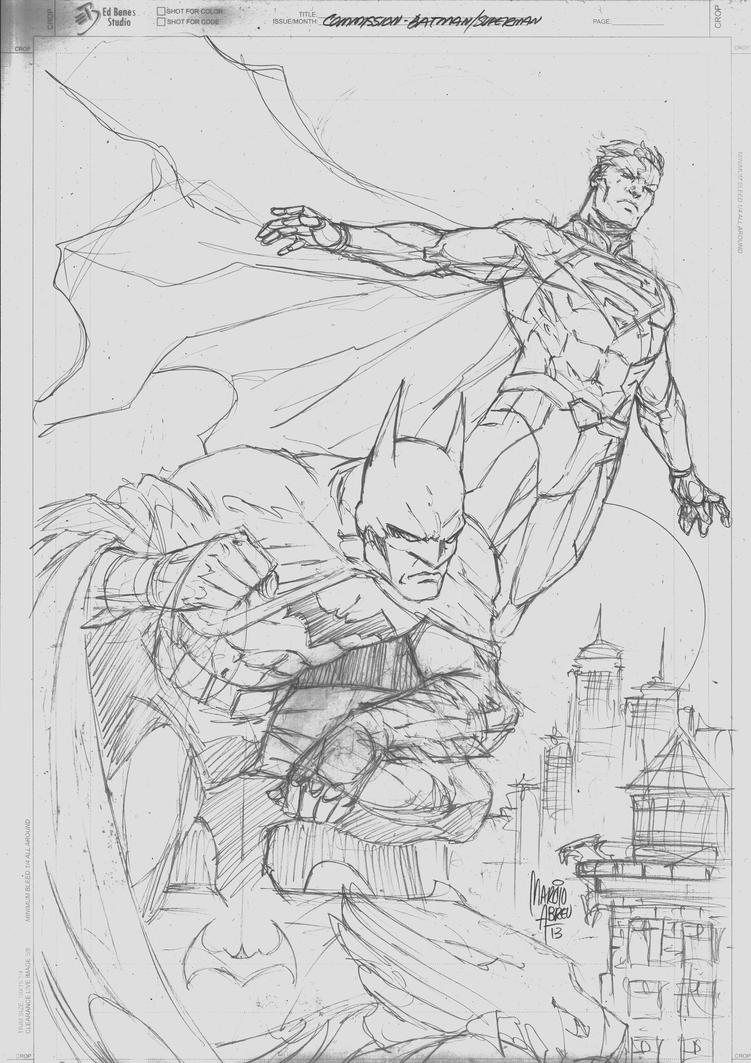 Sketch Commission Batman Superman by MARCIOABREU7