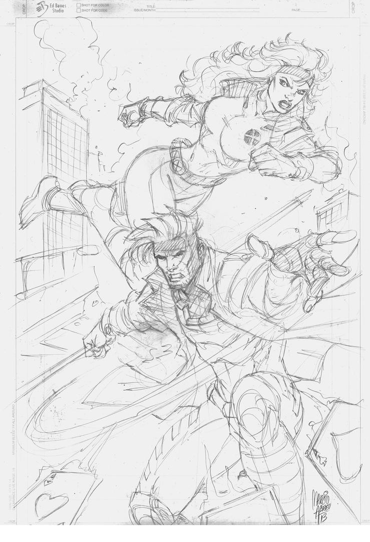 Sketch Commission Gambit Rogue by MARCIOABREU7