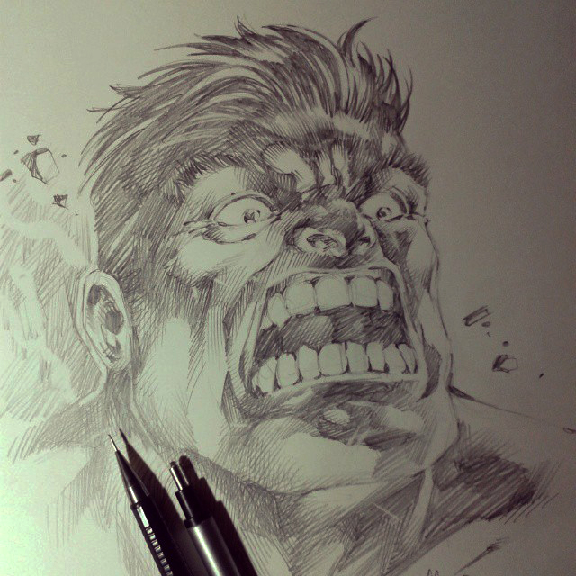 Sketch Hulk by MARCIOABREU7