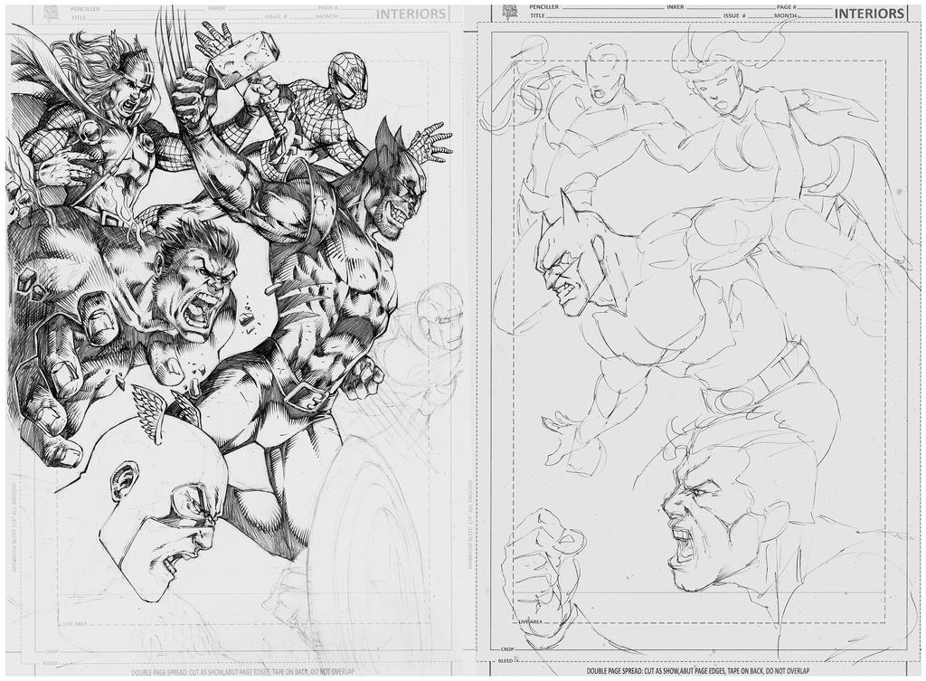 WIP Double page!  Marvel vs DC! by MARCIOABREU7