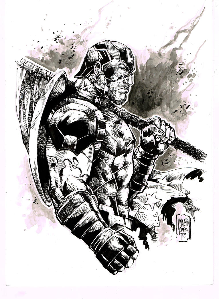 Ink Capitain America by MARCIOABREU7