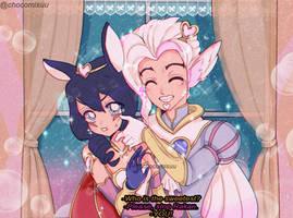 90's anime / / SweetHeart Rakan x Xayah by Chocomisuu