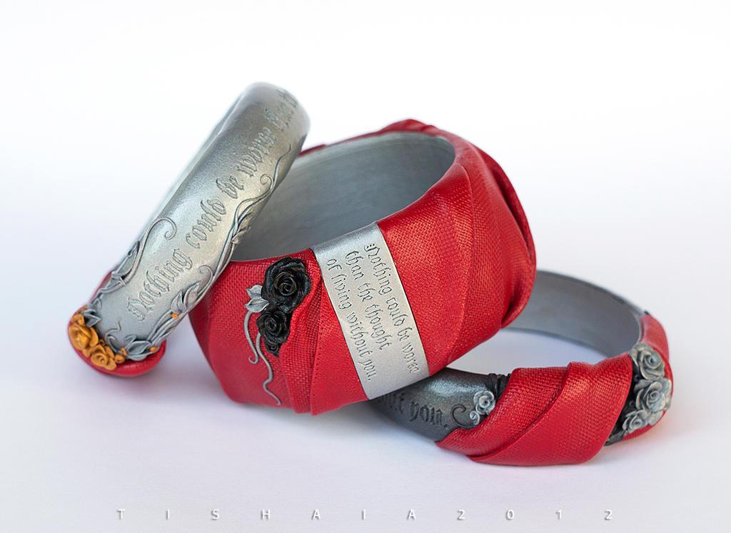 Trio RED - Fenris bracelets by tishaia