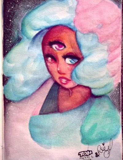 #crystal #gems #garnet #star #woman #cartoon #steven #universe #cotton #candy #watercolor #painting #colored #hair #fanart #hachura #indianink #nanquim #drawing #art #aquarela #desenho #collab #SU