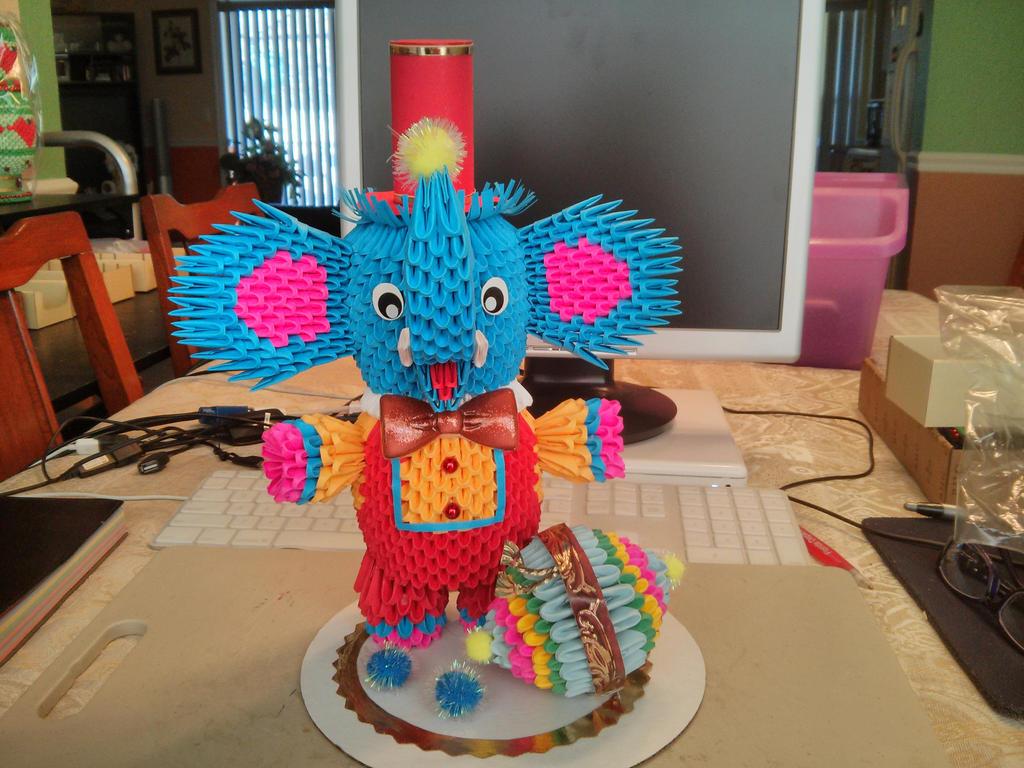 Elephant 3D Origami By Esmeraldaarribas