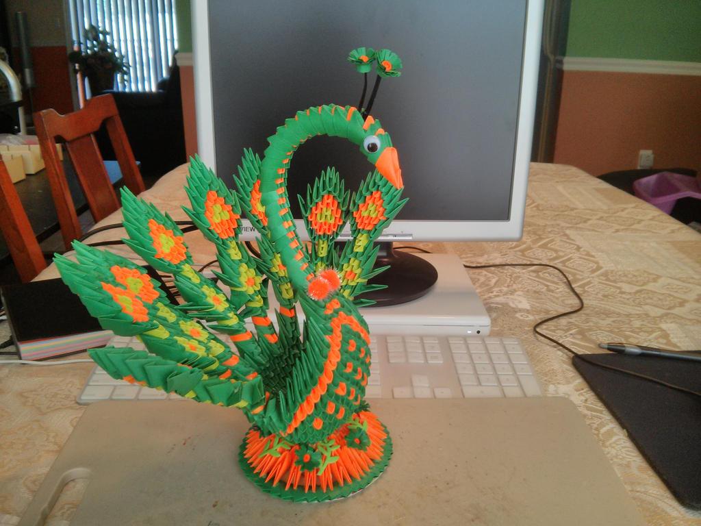 Peacock 3D Origami By Esmeraldaarribas