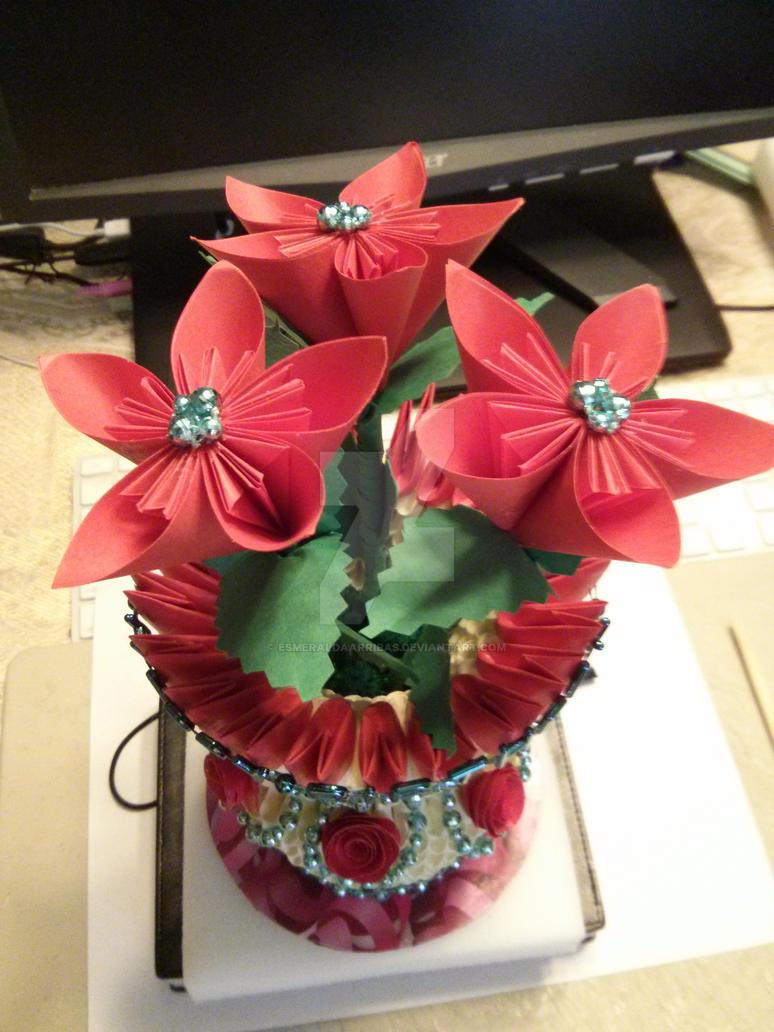 3d Origami Vase With Flowers By Esmeraldaarribas On Deviantart