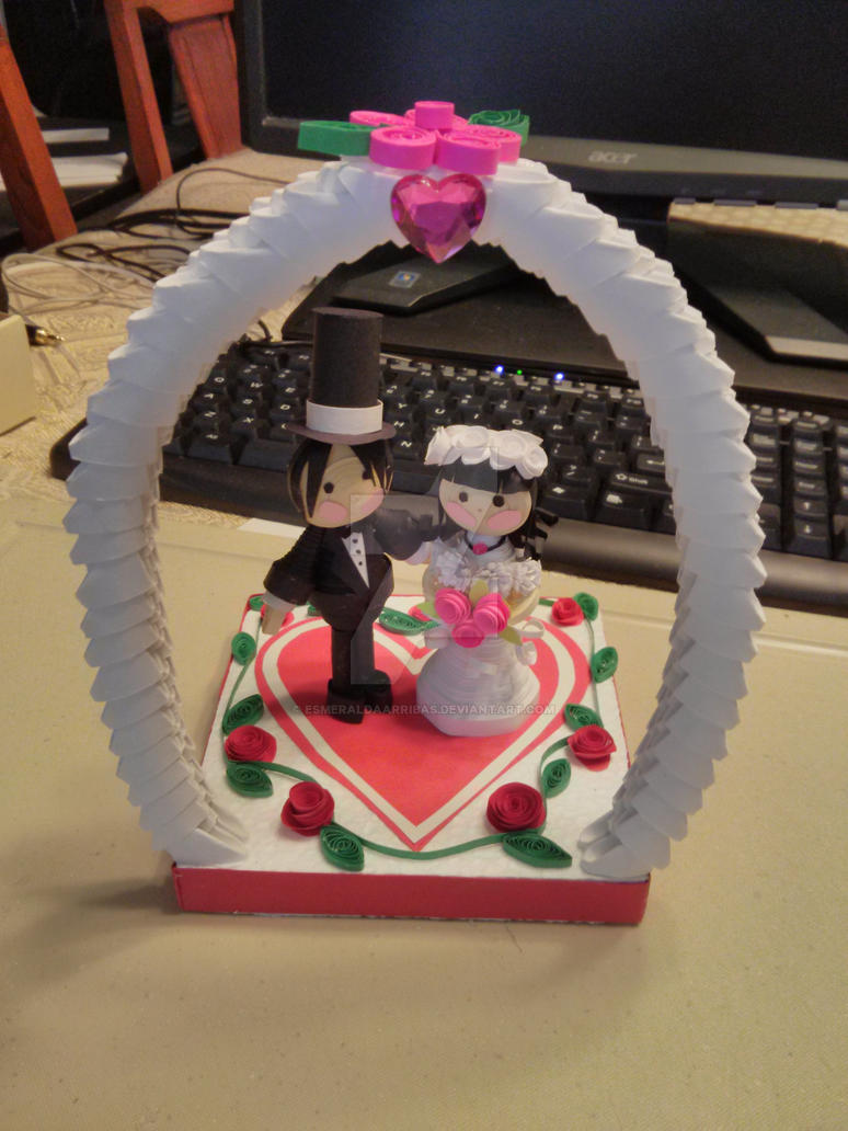 3d origami and 3d quilling wedding by esmeraldaarribas on