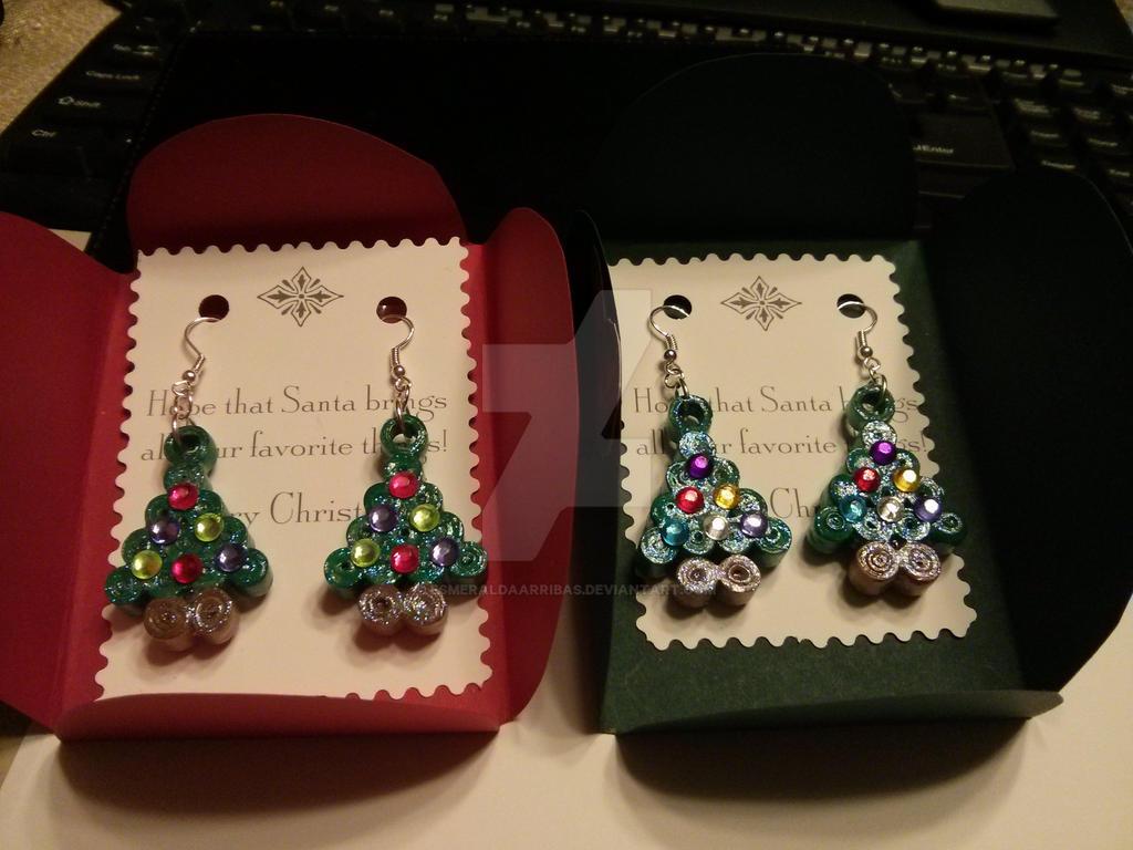 christmas tree earring paper quilling by esmeraldaarribas on deviantart