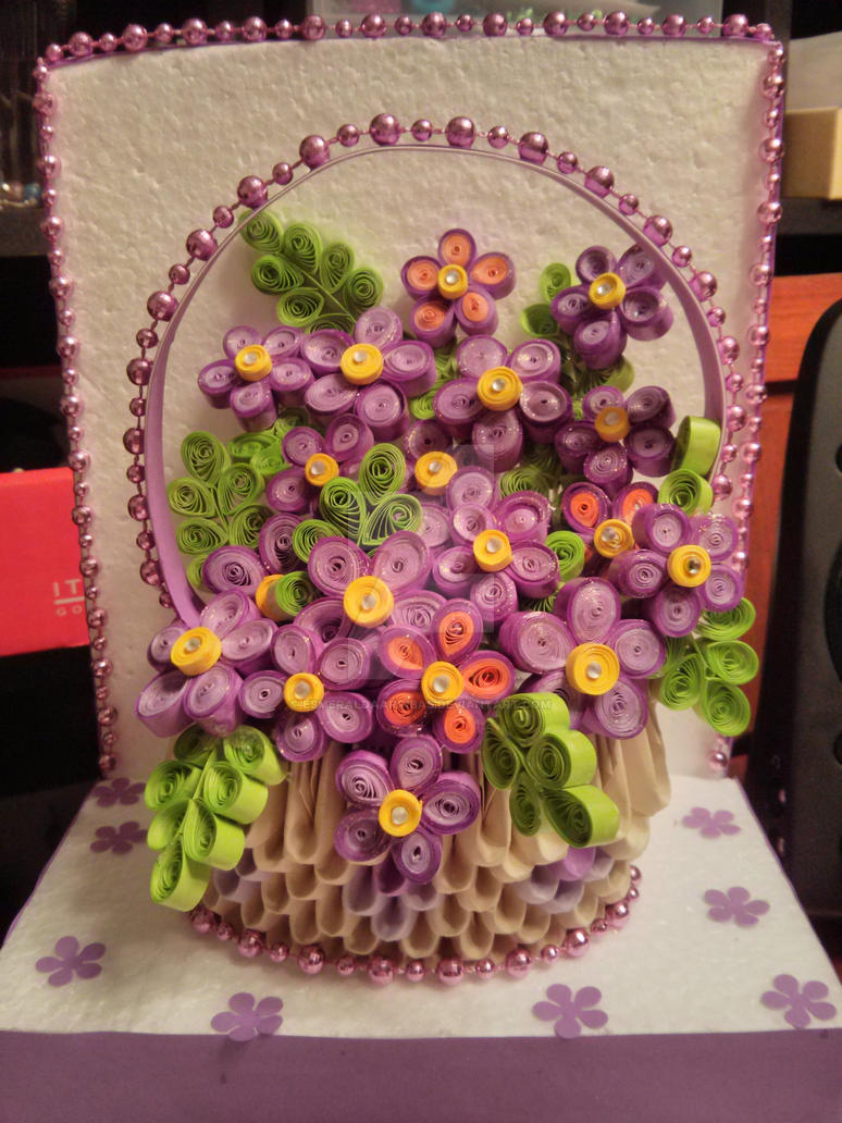 Paper quilling rose flower basket vatozozdevelopment paper quilling rose flower basket mightylinksfo