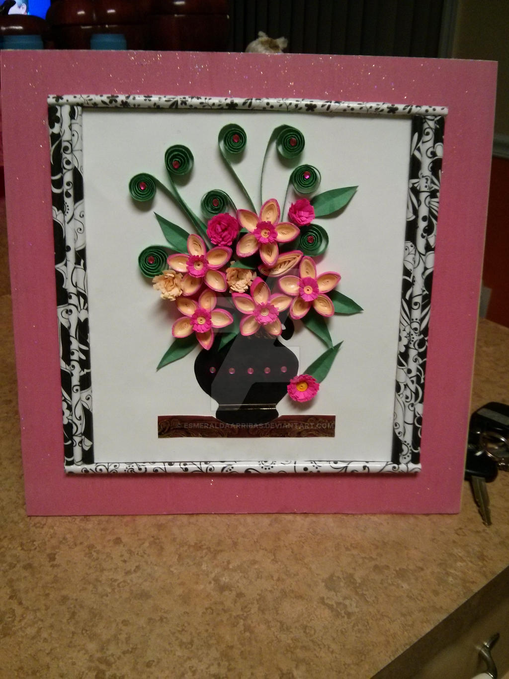 Paper Quilling Flowers And Paper Frame By Esmeraldaarribas On